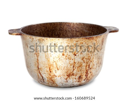 Dirty pot isolated on white background - stock photo