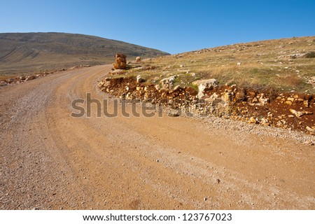 Dirty Road in the Judean Mountains on the West Bank
