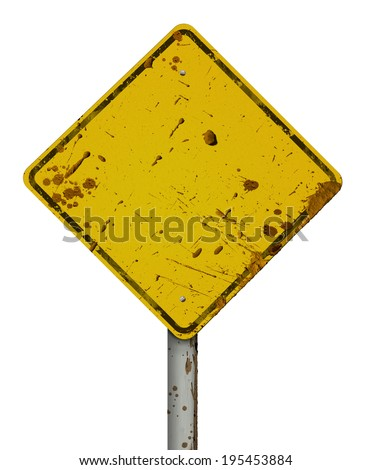 Dirty road sign - stock photo
