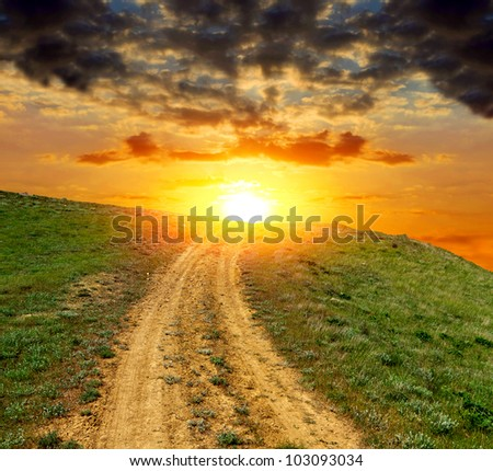Dirty road to sunset