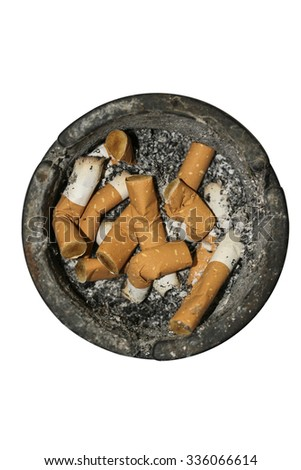 Dirty round dirty ash tray with cigarette butts and stubs extinguished. - stock photo