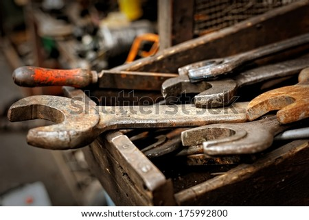 Dirty set of hand tools - stock photo
