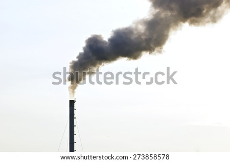Dirty smoke from smokestack on white background - stock photo