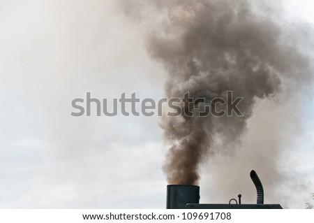 Dirty smoke on the sky, ecology problems - stock photo
