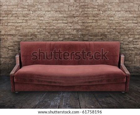 dirty sofa in old room - stock photo