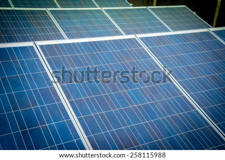 Dirty Solar Panel with vignetting to emphasis on dirt. Not keeping Solar Panel clean reduces efficiency of the solar plant
