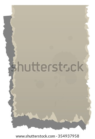 Dirty torn paper isolated on white background - stock photo