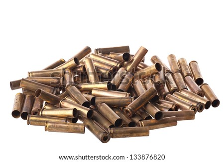 Dirty Used .30 carbine shell casings - stock photo