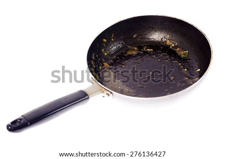 Dirty used iron pan after cook on white background