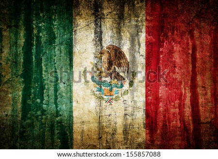 Dirty vintage flag of Mexico painted on old wall - stock photo