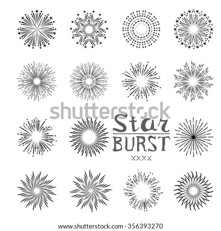dirty vintage hipster style monochrome starburst with ray for badge label or logo - stock photo