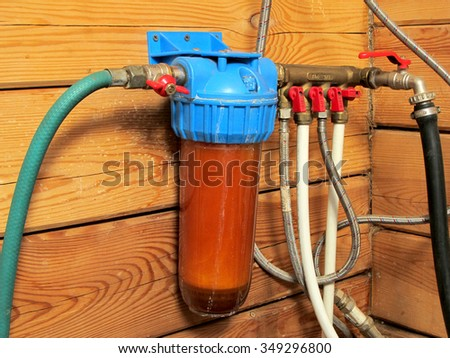 dirty water filter - stock photo