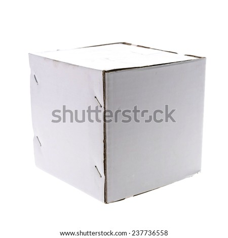 Dirty white box isolated on white background