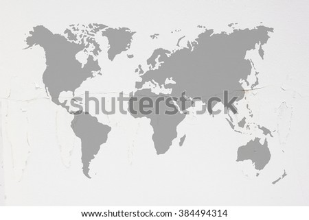 Dirty white concrete and cement wall with moss and world map black color tone on wall texture background. abstract wall paper design