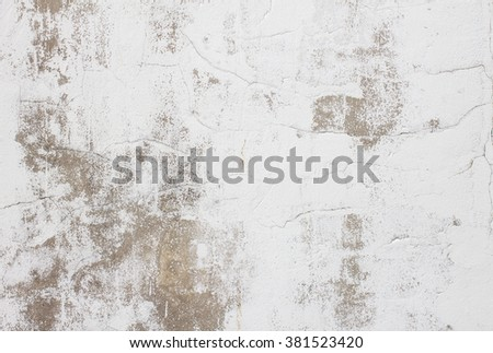 Dirty white concrete and cement wall with moss on wall texture background. abstract wall paper design. - stock photo