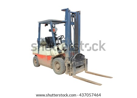 Dirty  working fork lift isolated on a white background using clipping path - stock photo