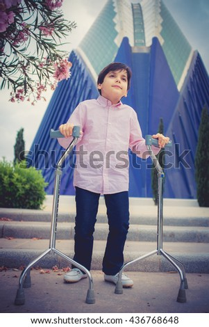 Disability child, walking sticks, cerebral palsy