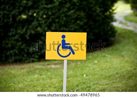 Disability sign on grass background - stock photo