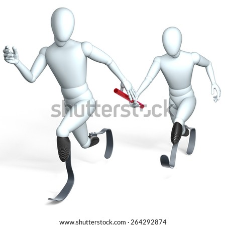 Disabled, amputees running relay race, rendering, isolated on white background - stock photo