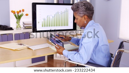 Disabled black businesswoman working at desk - stock photo