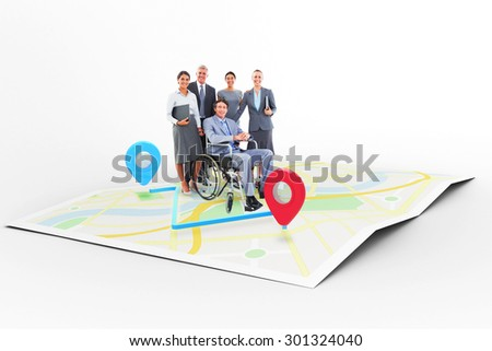 Disabled businessman with his colleagues smiling at camera against markers on map - stock photo