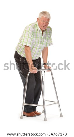 Disabled casual mature man on white background, using walking frame or Zimmer - stock photo