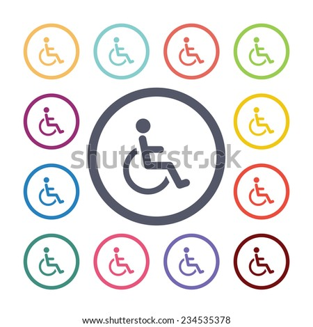disabled flat icons set. Open round colorful buttons  - stock photo