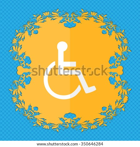 disabled. Floral flat design on a blue abstract background with place for your text. illustration - stock photo
