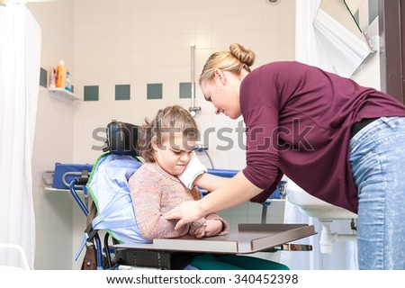 Girl care of disabled old man 5