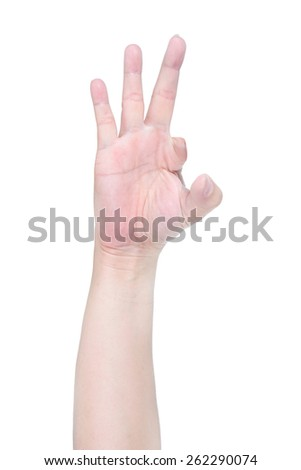 disabled hand try to show OK sign isolated on white background. - stock photo