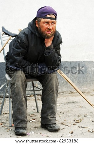 Disabled homeless. - stock photo