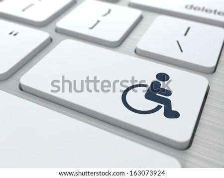 Disabled Icon on Button of White Modern Computer Keyboard. - stock photo