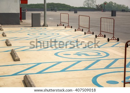 Disabled parking or Wheel chair parking lot area - stock photo