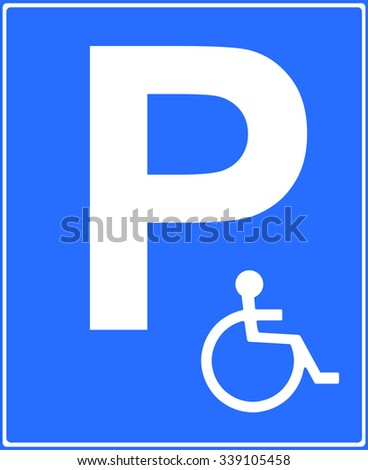 Disabled parking place sign