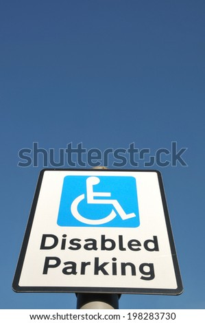 Disabled Parking Road Sign - stock photo
