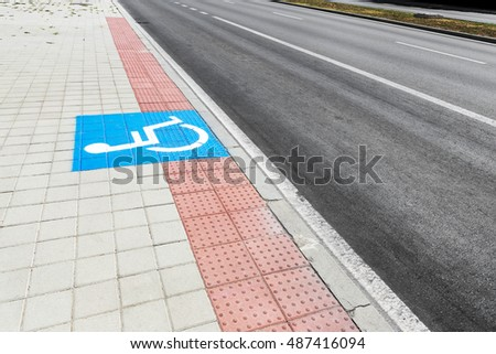 Disabled Parking Sign on Street. Road sign