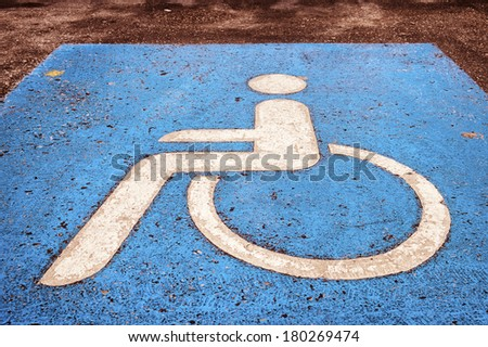 disabled parking sign - outdoors - photo - stock photo