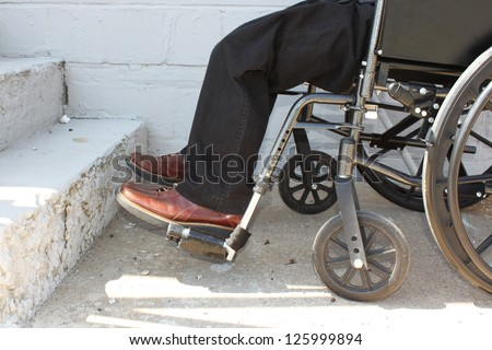 Disabled person in front of the stairs