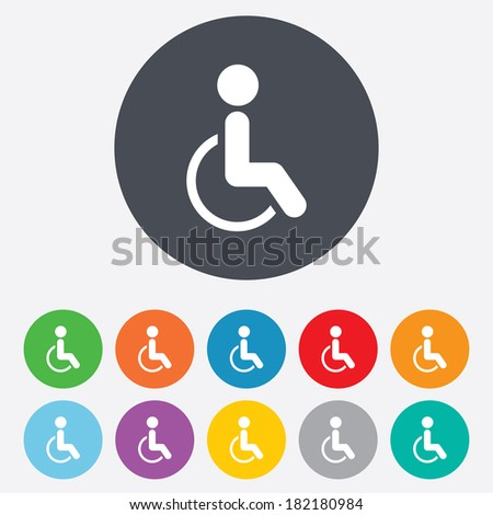 Disabled sign icon. Human on wheelchair symbol. Handicapped invalid sign. Round colourful 11 buttons. - stock photo
