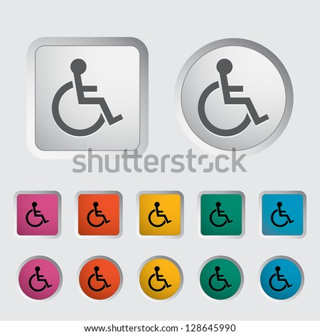 Disabled single icon. Vector version also available in my portfolio. - stock photo