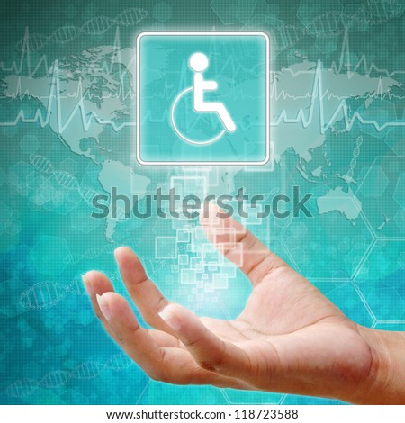 Disabled Symbol om hand,medical background - stock photo