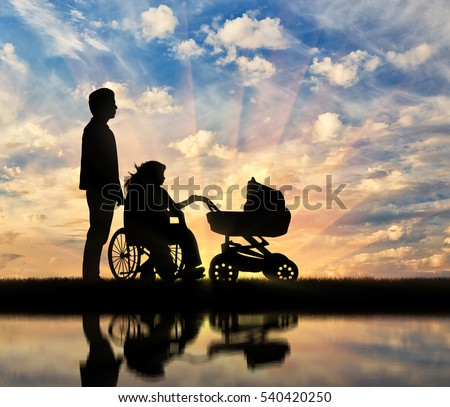 Disabled woman in wheelchair holding baby carriage and beside her husband and reflection in water. Concept disabled and family