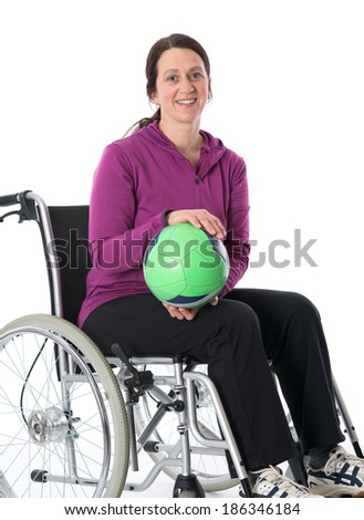 disabled woman is doing sports - stock photo