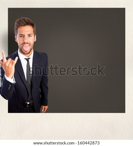 disagree young man gesture on photo frame