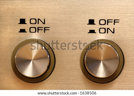 disagreeing control buttons showing opposing instructions - stock photo