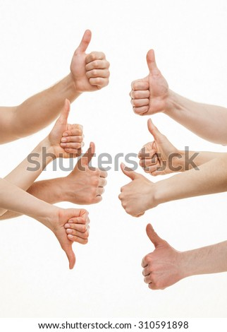 Disagreement between group of people and one person, white background - stock photo