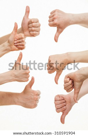 Disagreement between groups of people, white background - stock photo