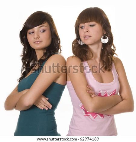 Disagreement between two friends - stock photo