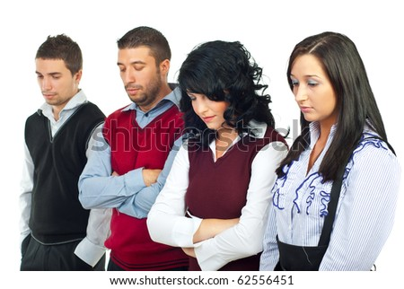 Disappointed business people because of financial crisis looking down and thinking isolated on white background