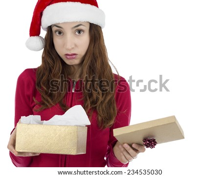 Disappointed christmas gift box woman - stock photo